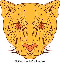Cougar Mountain Lion Head Mono Line - Mono line style...