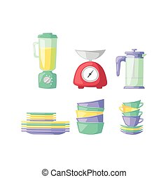 Kitchenware icons. - Kitchen scales and cooking measurement...