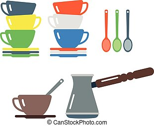 Clean cups and coffee dishware vector illustration. -...