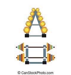 Barbell illustration. - Set of vintage gym barbell...