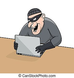 Concept of hacking. Cartoon thief trying to hack personal...