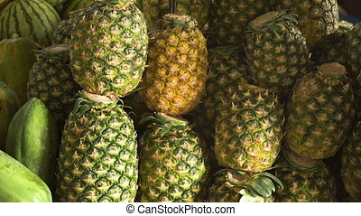 Pineapple in the fruit market - Pineapple in the street...