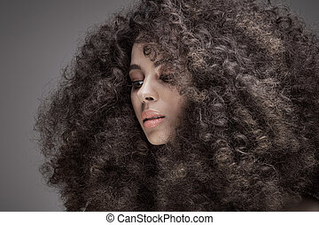 Beauty portrait of girl with afro. - Beauty portrait of...