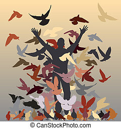 In the flock - Vector silhouette of a man and flock of...