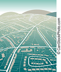 Land map - Editable vector illustration of a generic street...