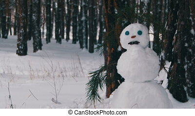 Snowman in a Pine Forest Standing Outdoors. Happy snowman...