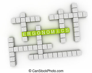 3d Ergonomics word cloud concept
