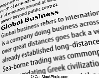3d, definition of the word Global Business on white paper.