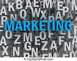 marketing, concetto, parola, nuvola,  3D