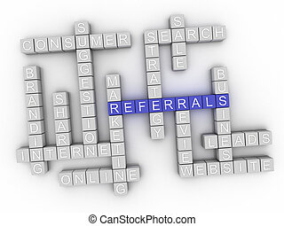3d Referrals word cloud concept