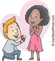 Couple Propose Interracial - Romantic Illustration of a...