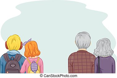 Couples Generation Gap - Romantic Illustration of a Pair of...