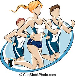 Fun Run Participation Design - Logo Illustration Featuring...