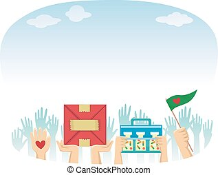 Hands Volunteers Donation - Illustration Featuring...