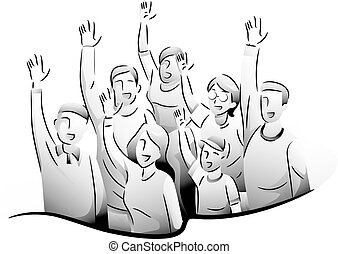 People Volunteer Hands Up - Black and White Illustration of...