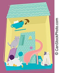 Cat Cafe Playing Cat Tower - Adorable Illustration of...