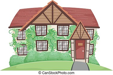 Country House Crawling Vines - Illustration of a Country...