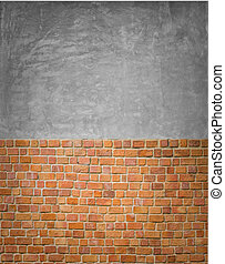 red brick wall pattern with Polished concrete surface -...