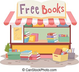 Free Books Roadside Stand - Colorful Illustration of a Small...