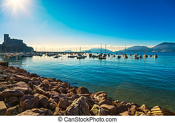 Lerici bay, harbor and fortress. Cinque terre, Ligury Italy...