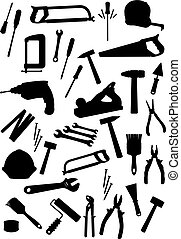 Work tools isolated vector icons set - Repair, construction,...