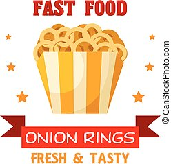 Onion Rings Fast Food meal vector emblem - Fast Food Onion...