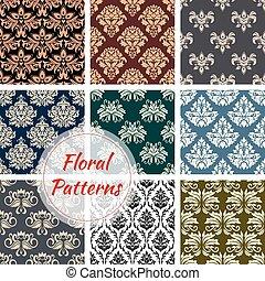 Floral patterns set of flowery ornate design