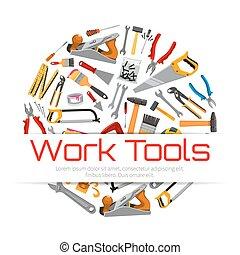 Work tools poster of carpentry repair instruments