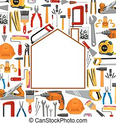 Building and repair work tools poster - Repair, carpentry,...