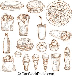 Fast Food sketch vector icons - Fast Food icons. Vector...