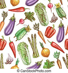 Vegetables sketch vector seamless pattern - Vegetables...