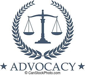Advocacy Scales of Justice vector icon or emblem - Advocacy...