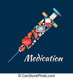 Syringe symbol of medical tools medications, items