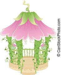 Fancy Flower Vine Gazebo - Colorful Illustration of a Fancy...