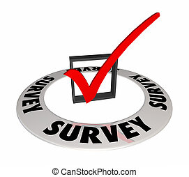 Survey Question Answer Check Mark Box Word 3d Illustration