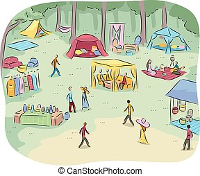 Public Park Outdoor Picnic - Landscape Illustration of a...