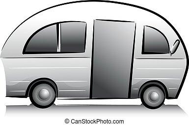 Recreational Trailer Van - Black and White Illustration...
