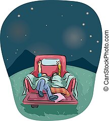 Truck Star Gazing Couple - Romantic Illustration of a Couple...