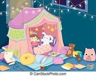 Indoor Camp Tent Toys - Colorful Illustration of a Playroom...