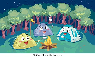 Mascot Tents Camping Smores - Mascot Illustration of a Group...