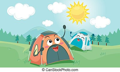 Mascot Tents Happy Sunny - Mascot Illustration of a Pair of...