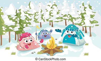 Mascot Tents Winter Camping - Mascot Illustration of a Group...