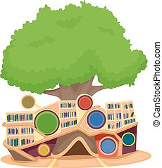 Modern Tree House Library - Illustration of a Modern Tree...