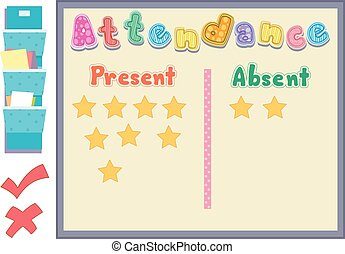 Attendance Board Present Absent - Colorful Illustration...
