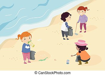 Stickman Kids Coastal Cleanup - Stickman Illustration of a...