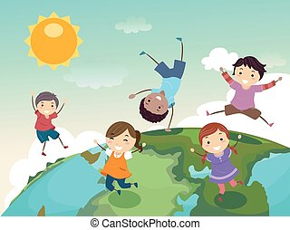 Stickman Kids Globe Jump - Stickman Illustration of a Group...