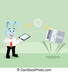 business rabbit transferring money with mobile payment