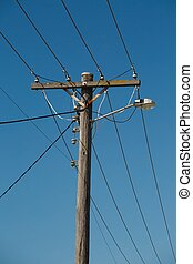 Electric line post - Many cables of electric lines