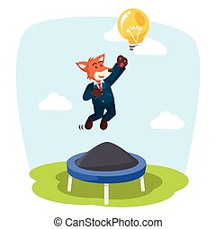 business fox jumping on trampoline