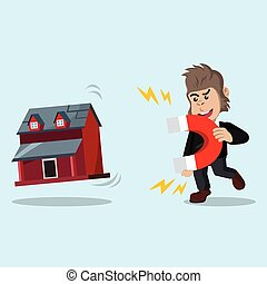 business gorilla pulling miniature house with magnet